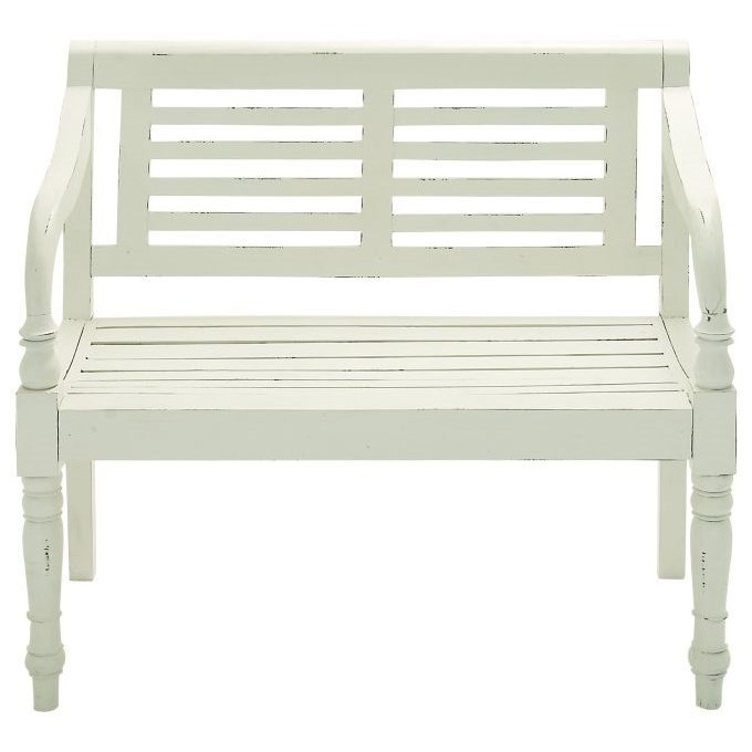 Accent Furniture Wood White Bench by UMA Enterprises, Inc. at Wilcox Furniture