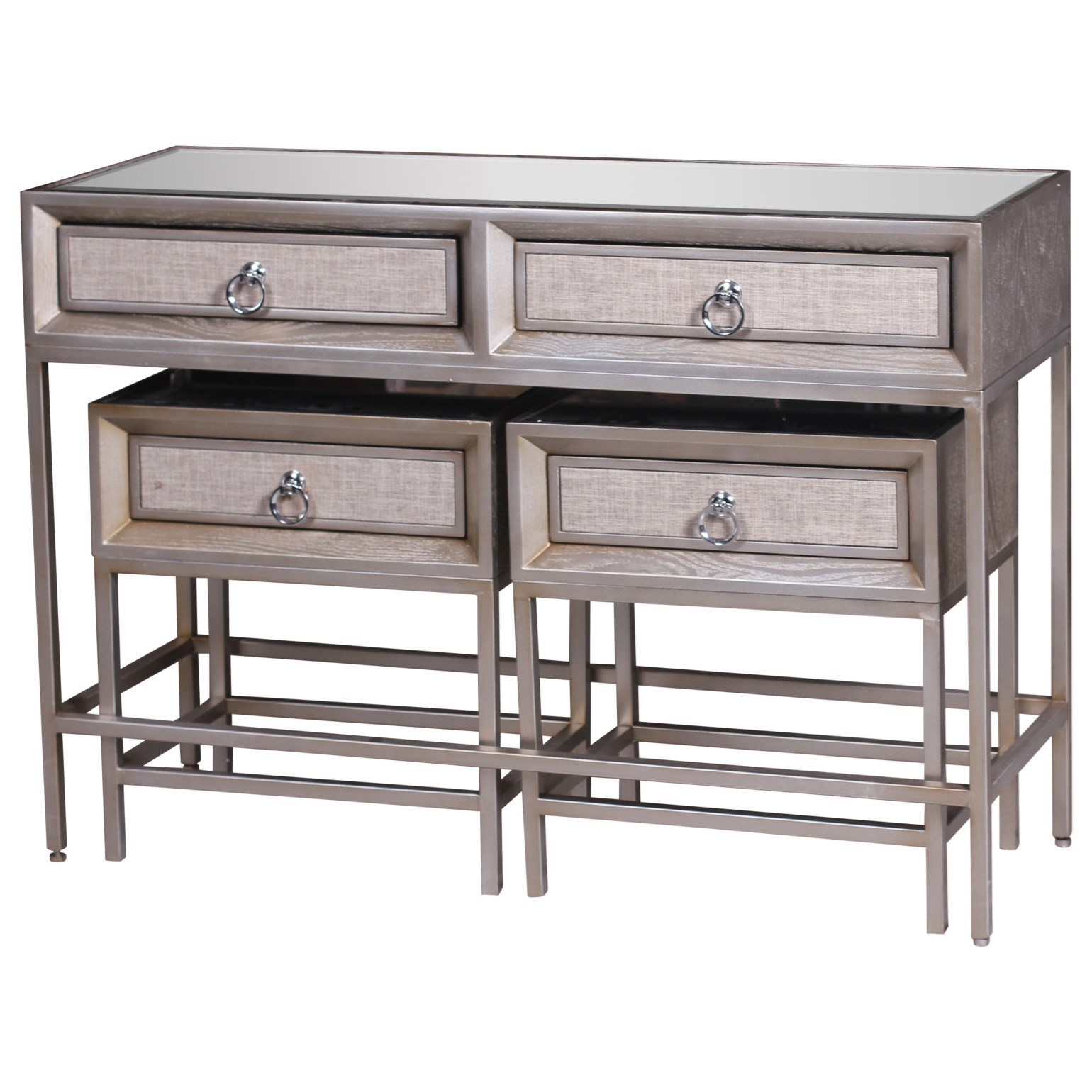 Accent Furniture Metal/Wood Mirror Consoles, Set of 3 by UMA Enterprises, Inc. at Wilcox Furniture