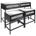 UMA Enterprises, Inc. Accent Furniture Wood/Metal Mirror Consoles, Set of 3 - Item Number: 39859