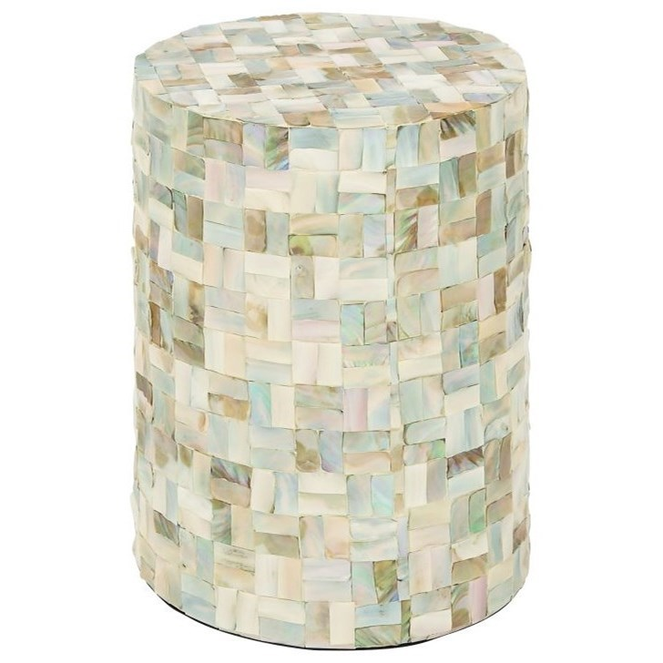 Accent Furniture Wood/Shell Foot Stool by UMA Enterprises, Inc. at Wilcox Furniture