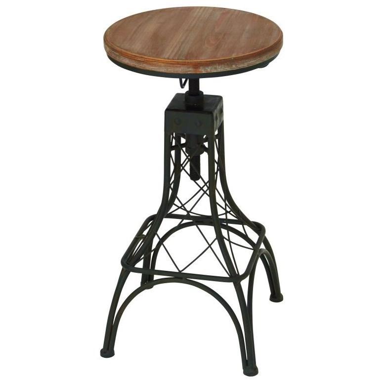 Accent Furniture Metal/Wood Adjustable Bar Stool by UMA Enterprises, Inc. at Wilcox Furniture