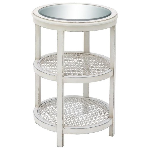 Accent Furniture Wood/Mirror/Metal White Accent Table by UMA Enterprises, Inc. at Wilcox Furniture