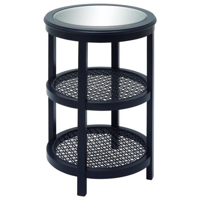 Wood/Mirror Metal Black Accent Table
