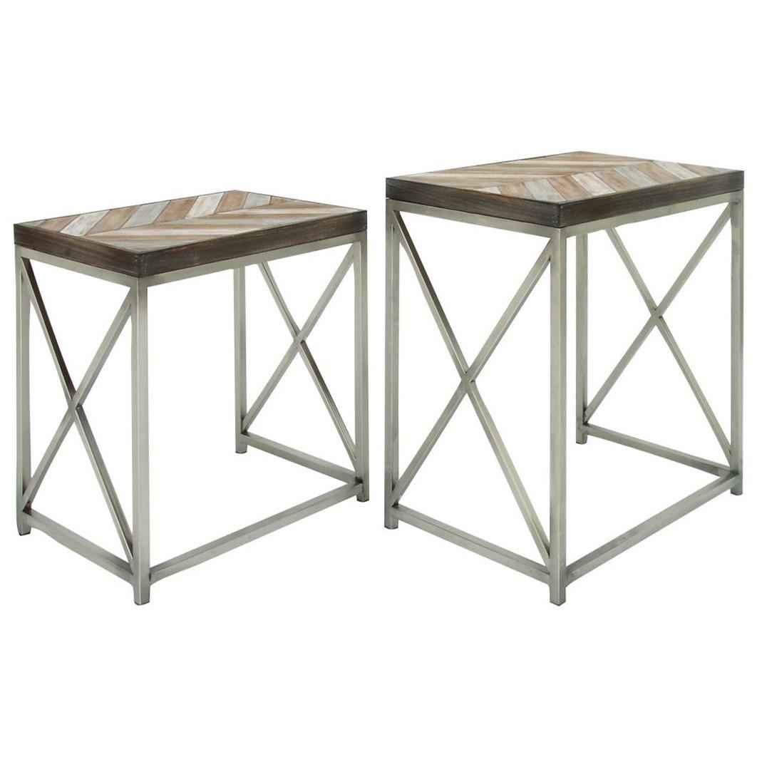 Metal/Wood Nesting Tables, Set of 2