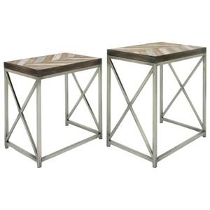 UMA Enterprises, Inc. Accent Furniture Metal/Wood Nesting Tables, Set of 2