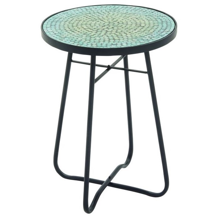 Metal/Glass Round Turquoise Accent Table