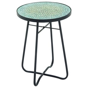UMA Enterprises, Inc. Accent Furniture Metal/Glass Round Turquoise Accent Table
