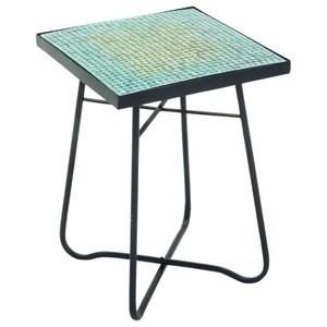 UMA Enterprises, Inc. Accent Furniture Metal/Glass Square Turquoise Accent Table