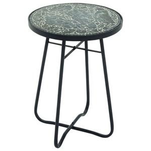 UMA Enterprises, Inc. Accent Furniture Metal/Glass Round Black Accent Table