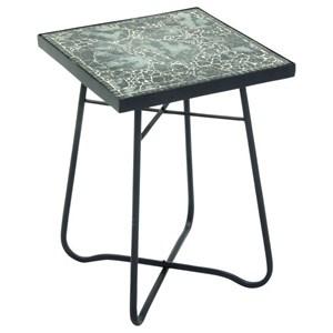 UMA Enterprises, Inc. Accent Furniture Metal/Glass Square Black Accent Table