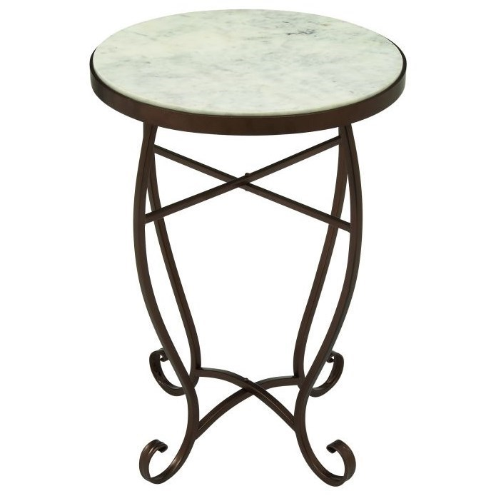 Metal/Marble Round Accent Table