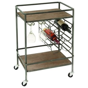 UMA Enterprises, Inc. Accent Furniture Metal/Wood Wine Rack Bar Cart