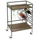 UMA Enterprises, Inc. Accent Furniture Metal/Wood Wine Rack Bar Cart - Item Number: 48673