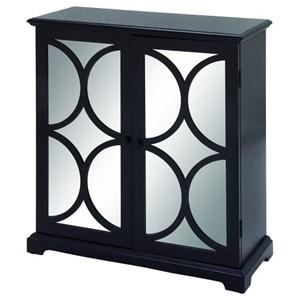 UMA Enterprises, Inc. Accent Furniture Wood Mirror Black Cabinet