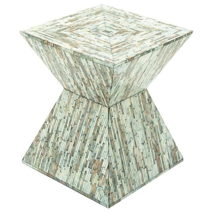 Wood Inlay Accent Table