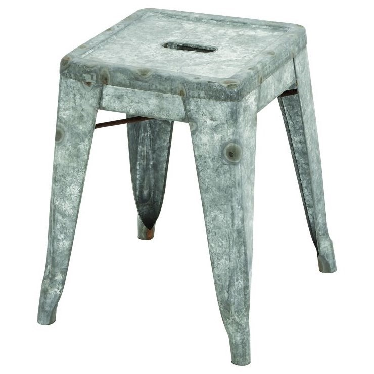 Accent Furniture Metal Galvanized Stool by UMA Enterprises, Inc. at Wilcox Furniture