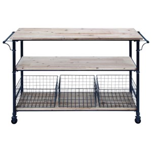 Metal/Wood Basket Cart