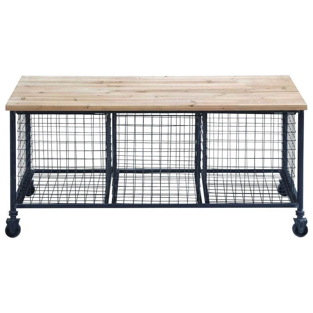 Accent Furniture Metal/Wood Bench w/ Baskets by UMA Enterprises, Inc. at Wilcox Furniture