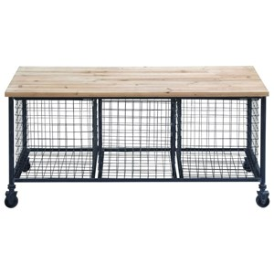 UMA Enterprises, Inc. Accent Furniture Metal/Wood Bench w/ Baskets