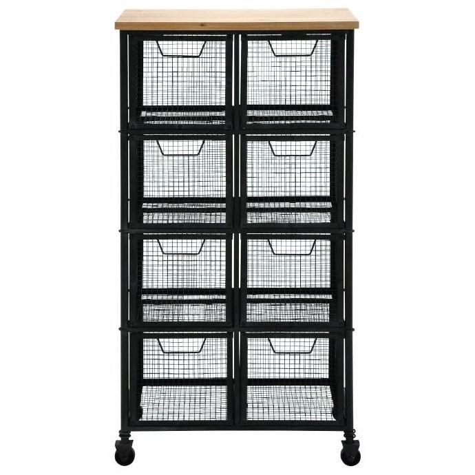 Metal/Wood Tall Storage Cart