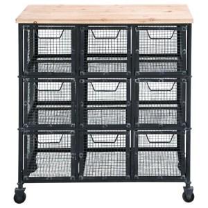 UMA Enterprises, Inc. Accent Furniture Metal/Wood Basket Cart