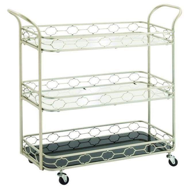 Metal/Mirror 3 Tier Bar Cart