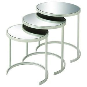 UMA Enterprises, Inc. Accent Furniture Metal Mirror Nesting Tables, Set of 3