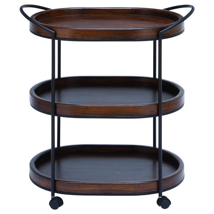 Metal/Wood 3 Tier Bar Cart