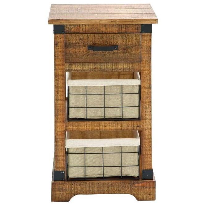 Wood Metal Basket Side Table