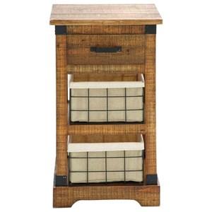 UMA Enterprises, Inc. Accent Furniture Wood Metal Basket Side Table
