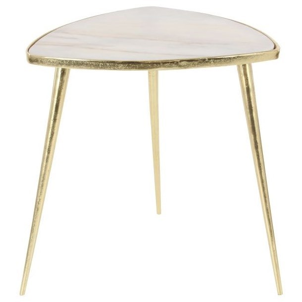 Aluminum/Marble Accent Table
