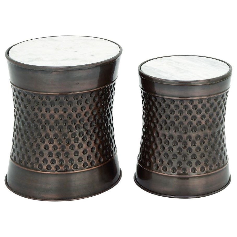 Metal/Marble Accent Tables, Set of 2