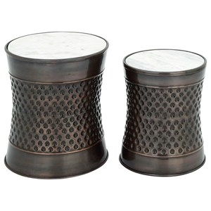 UMA Enterprises, Inc. Accent Furniture Metal/Marble Accent Tables, Set of 2