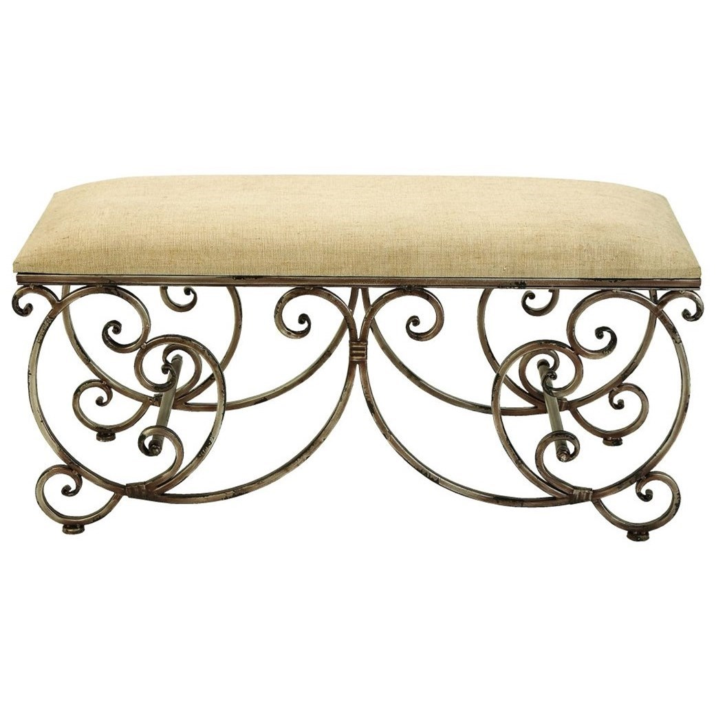 Accent Furniture Metal Fabric Bench by UMA Enterprises, Inc. at Wilcox Furniture
