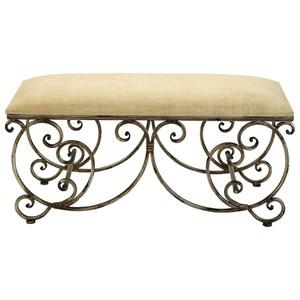 UMA Enterprises, Inc. Accent Furniture Metal Fabric Bench