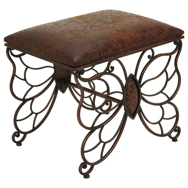 Accent Furniture Metal/Faux Leather Stool by UMA Enterprises, Inc. at Wilcox Furniture