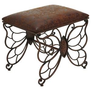 UMA Enterprises, Inc. Accent Furniture Metal/Faux Leather Stool