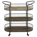 UMA Enterprises, Inc. Accent Furniture Metal/Wood 3 Tier Bar Cart - Item Number: 54490
