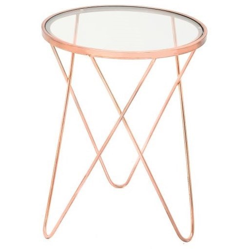 Metal/Glass Copper Accent Table