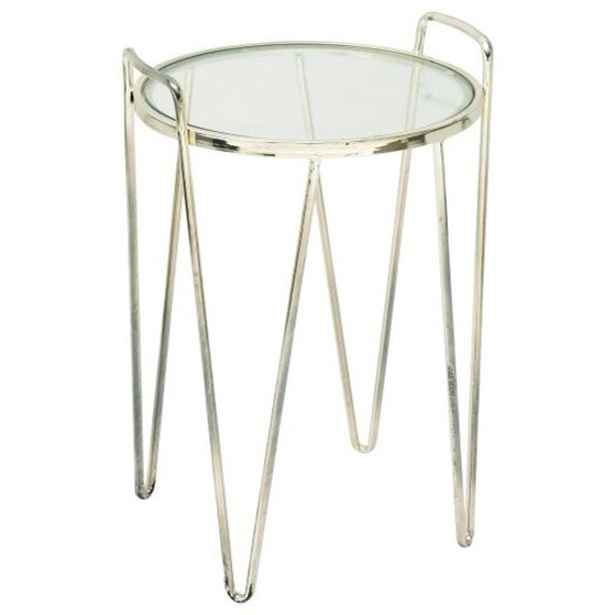 Metal/Glass Silver Accent Table