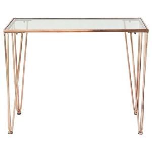 UMA Enterprises, Inc. Accent Furniture Metal/Glass Copper Console Table
