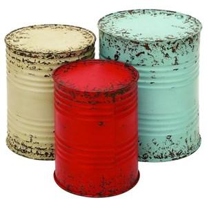 UMA Enterprises, Inc. Accent Furniture Metal Drum Tables, Set of 3