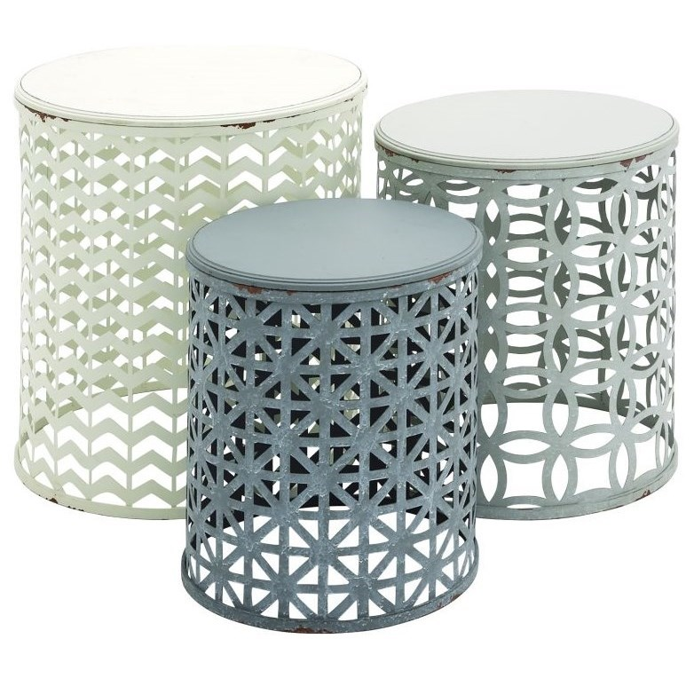 Metal/Wood Accent Tables, Set of 3