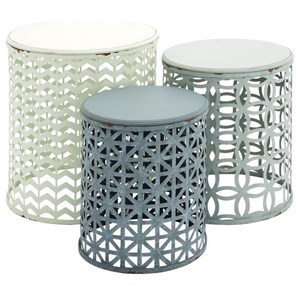 UMA Enterprises, Inc. Accent Furniture Metal/Wood Accent Tables, Set of 3