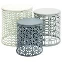 UMA Enterprises, Inc. Accent Furniture Metal/Wood Accent Tables, Set of 3 - Item Number: 55538