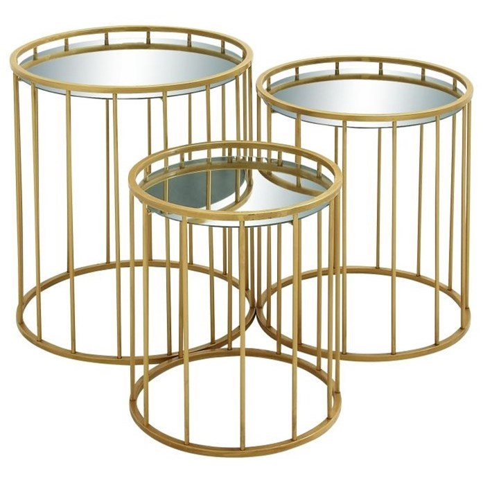 Accent Furniture Metal Mirror Accent Tables, Set of 3 by UMA Enterprises, Inc. at Wilcox Furniture