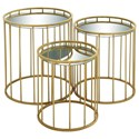 UMA Enterprises, Inc. Accent Furniture Metal Mirror Accent Tables, Set of 3 - Item Number: 55561