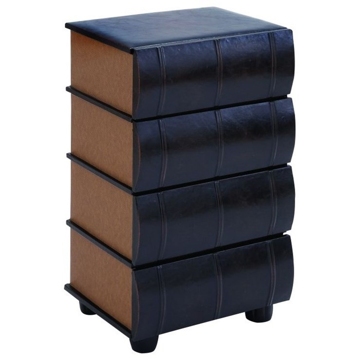 Accent Furniture Wood/Faux Leather 4 Drawer Chest by UMA Enterprises, Inc. at Wilcox Furniture