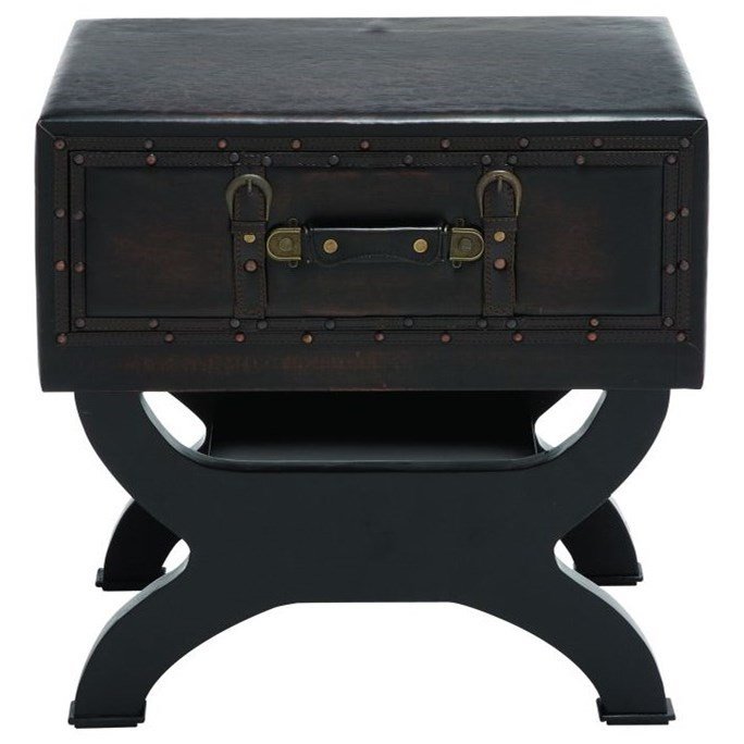 Faux Leather End Table