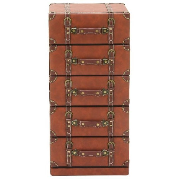 Accent Furniture Faux Leather 5 Drawer Chest by UMA Enterprises, Inc. at Wilcox Furniture